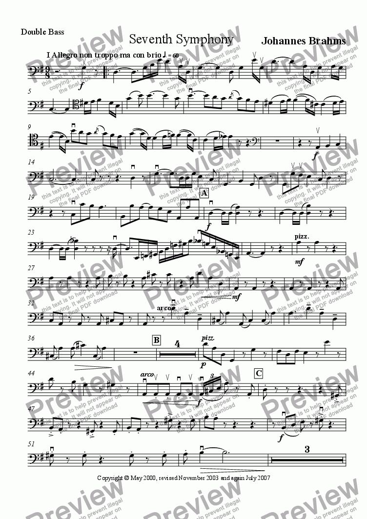 page one of the Double Bass part from Brahms' Seventh Symphony I Allegro non troppo