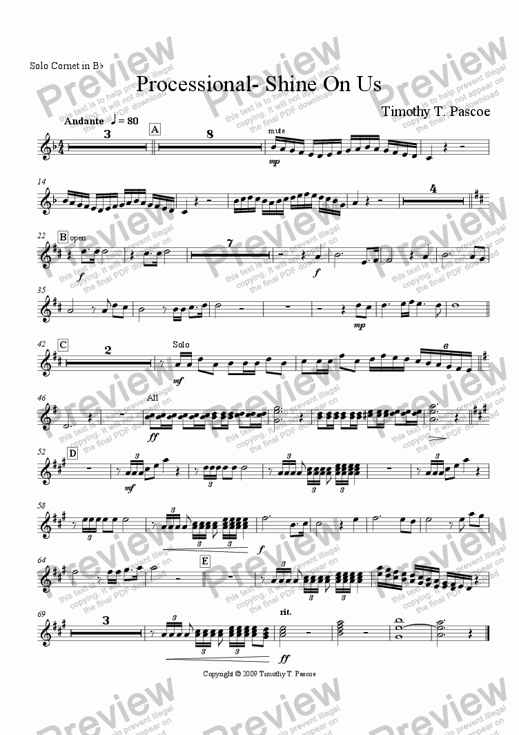 page one of the Solo Cornet part from Shine On Us (Brass Band)