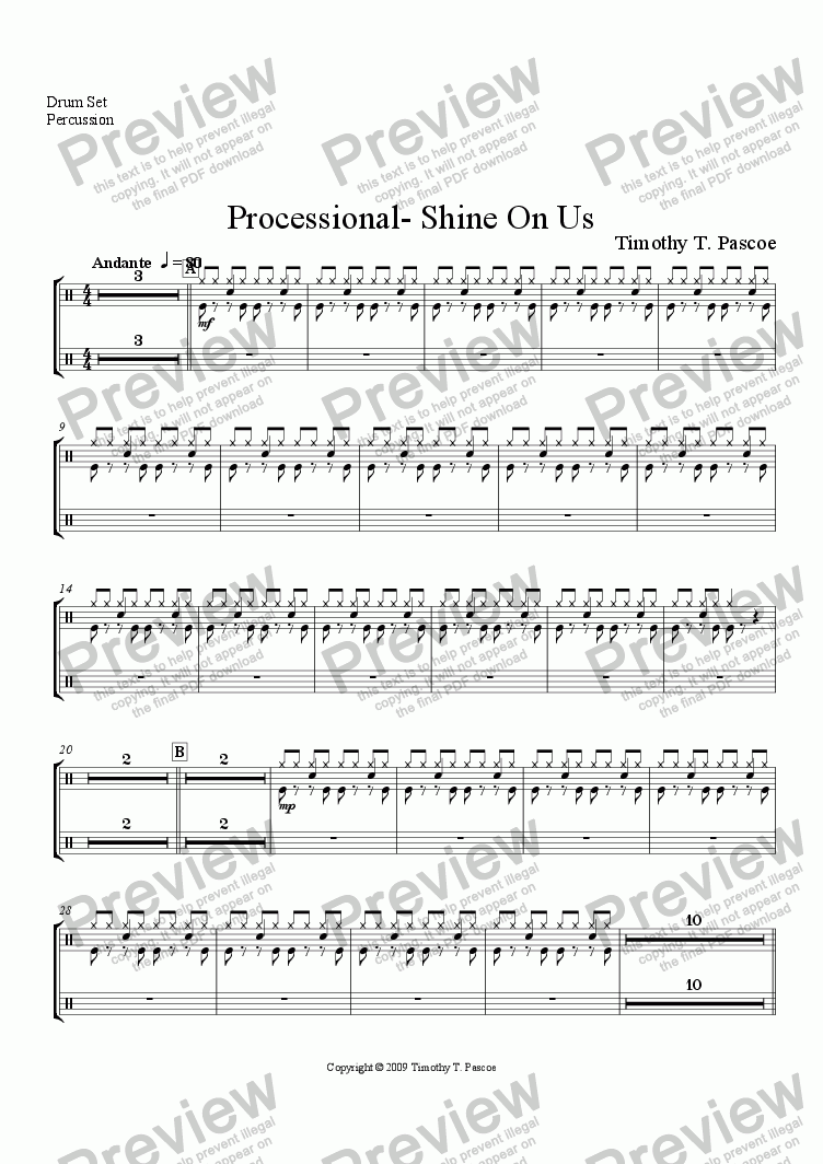 page one of the Percussion 1 part from Shine On Us (Brass Band)