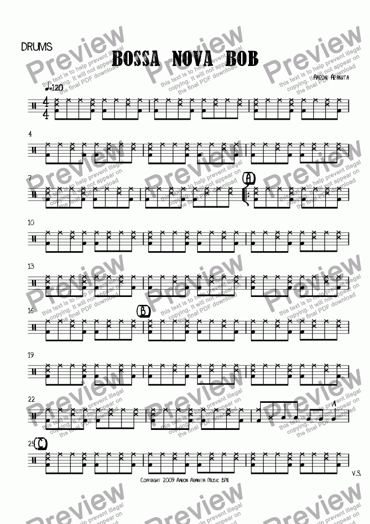 page one of the drums part from Bossa Nova Bob