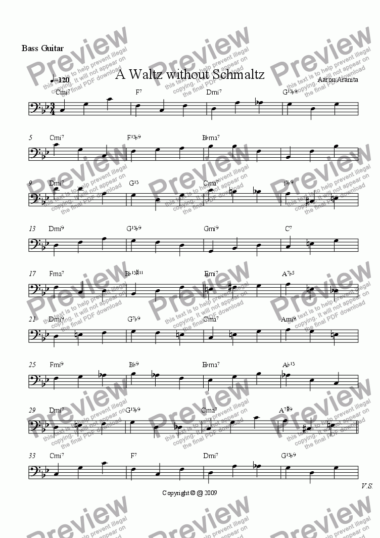page one of the Bass part from Waltz Without Schmaltz