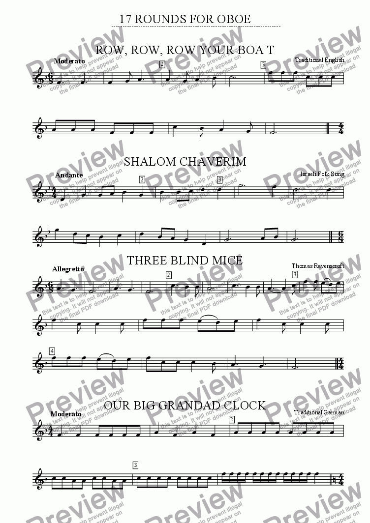 page one of the Oboe part from 17 Traditional Rounds for Flute, Oboe, Clarinet , Saxophone and Bassoon. Suitable for any combination!