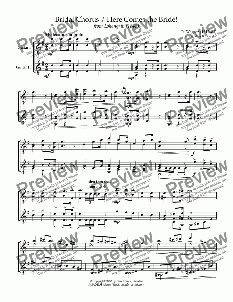 page one of the Guitar I part from Bridal chorus from Lohengrin - Here comes the bride! for guitar duet