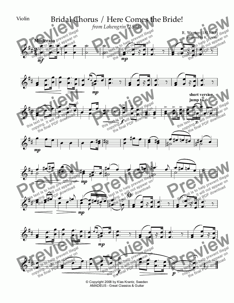 page one of the violin part from Bridal chorus from Lohengrin - Here comes the bride! for violin (advanced) and guitar