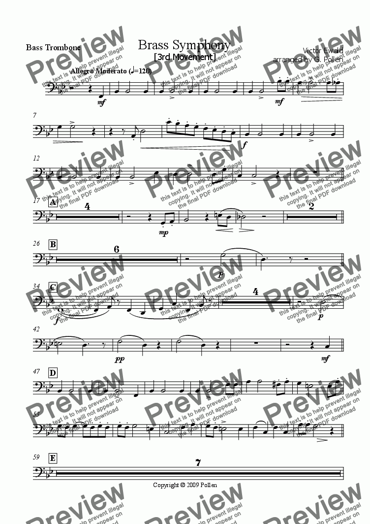 page one of the Bass Trombone part from Brass Symphony [3rd Movement] (CB)