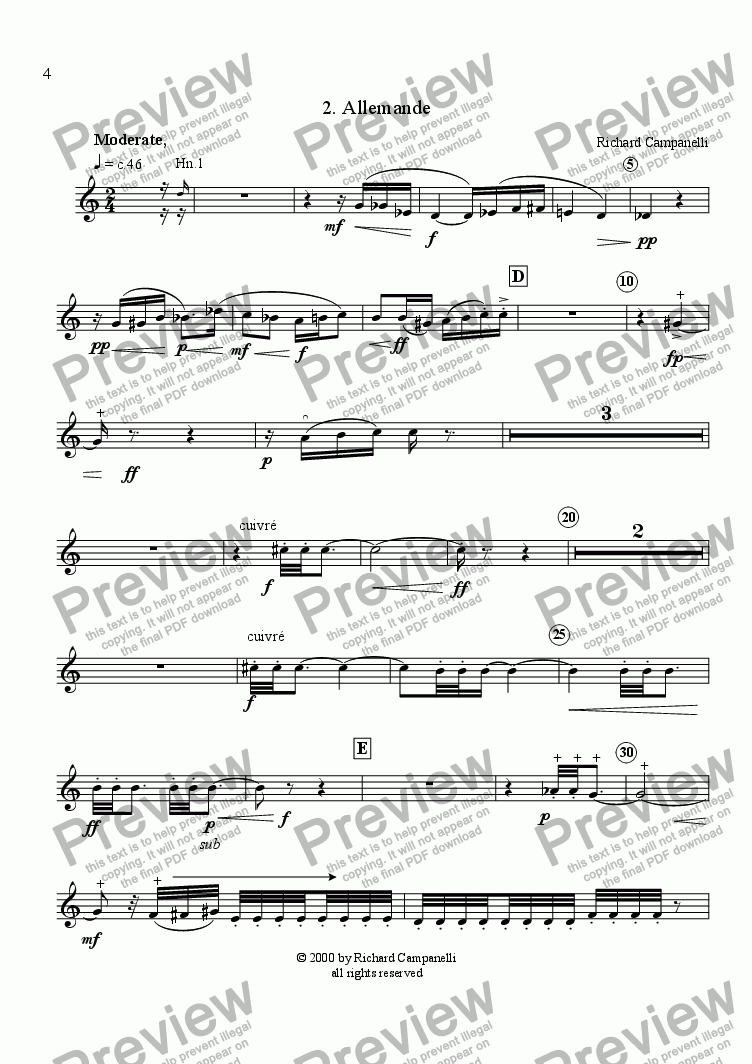page one of the Horn 3 part from Suite for Horn Sextet #2 Allemande