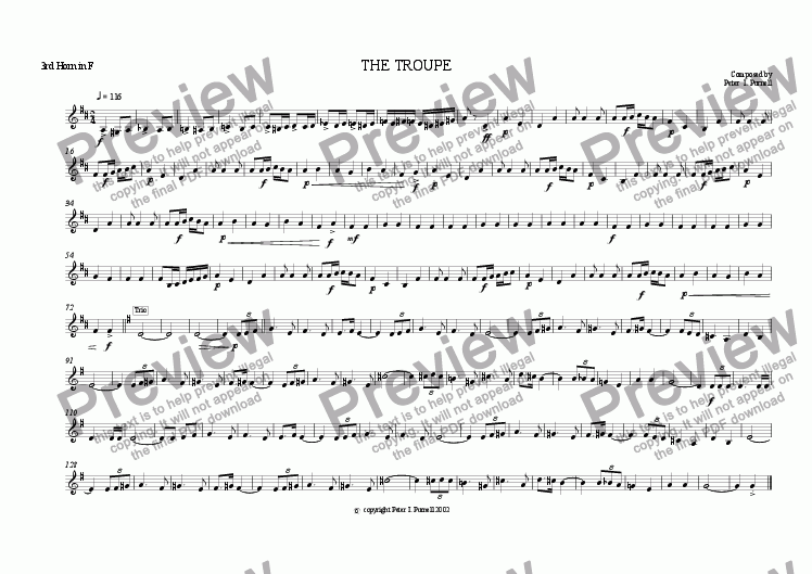 page one of the 3rd Horn in F part from The Troupe