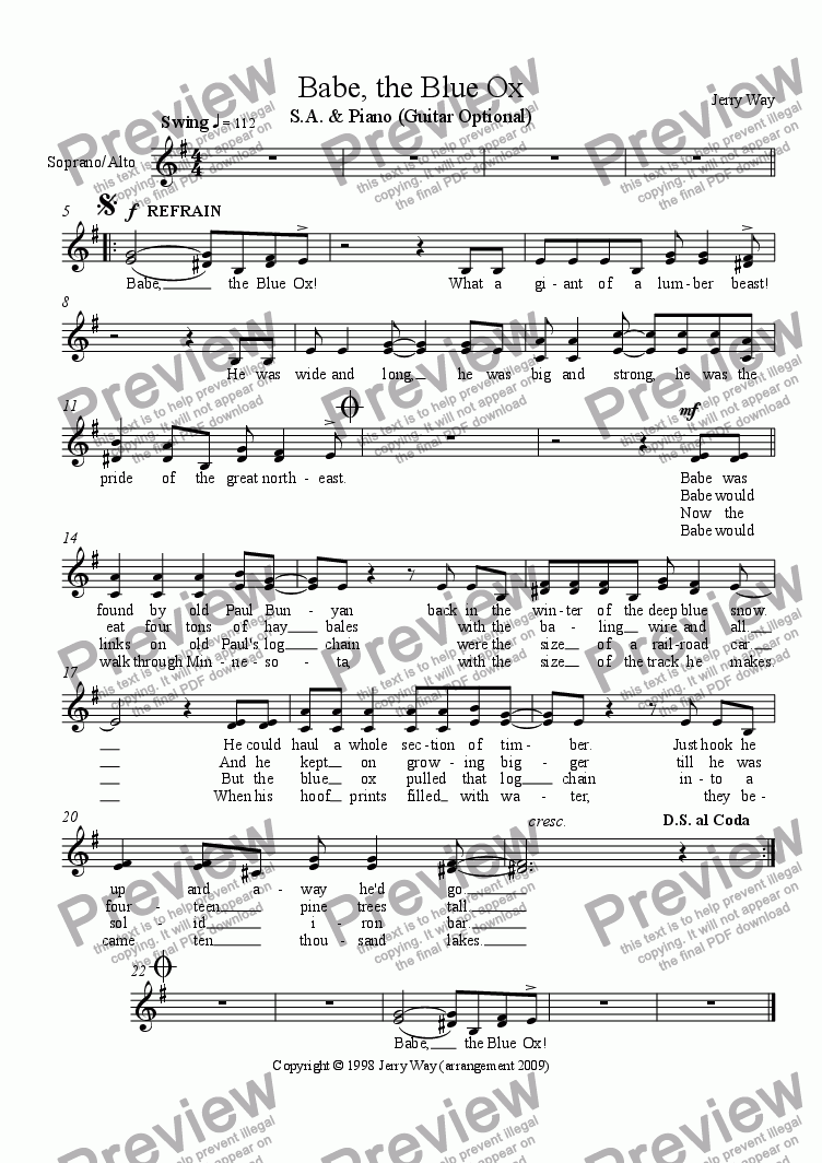 page one of the S.A. Vocal part from Babe, the Blue Ox
