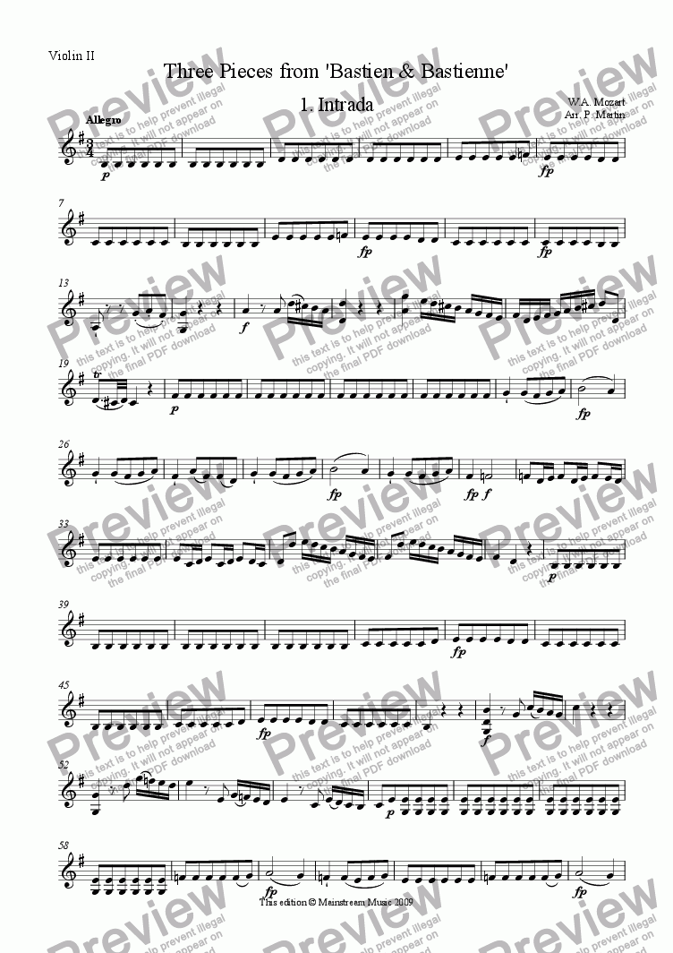 page one of the Violin II part from Three Pieces from 'Bastien & Bastienne'