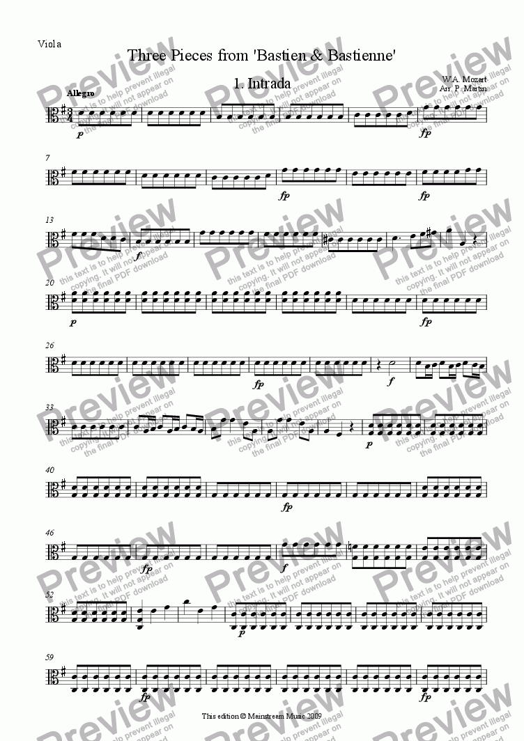 page one of the Viola part from Three Pieces from 'Bastien & Bastienne'