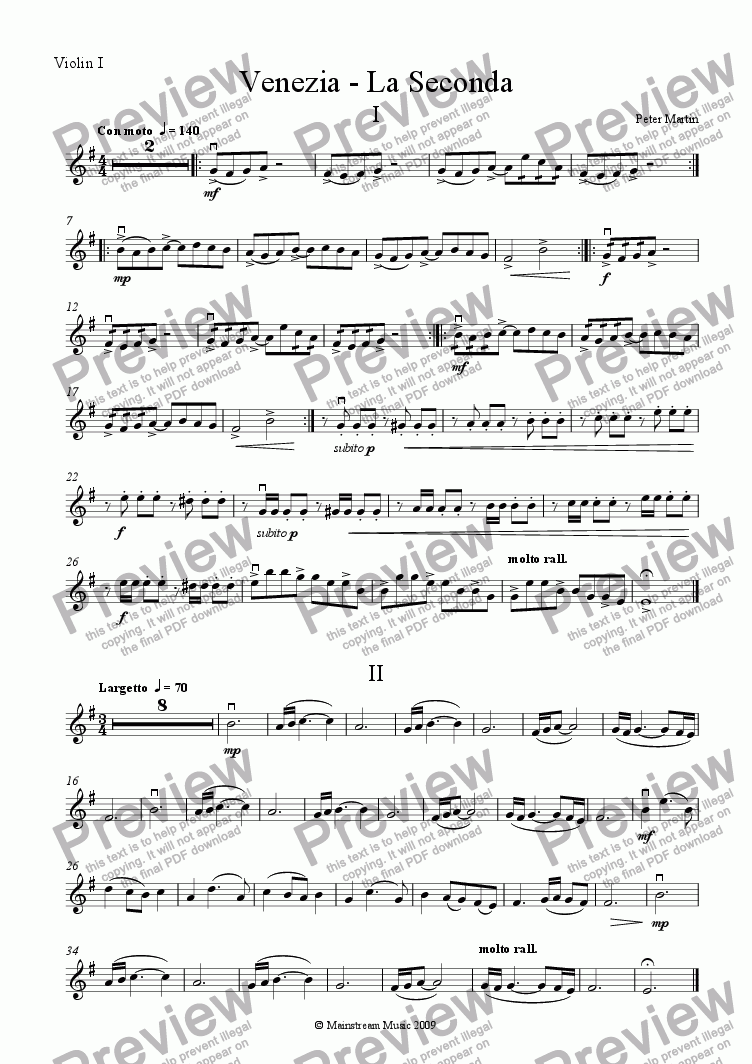 page one of the Violin I part from Venezia - La Seconda