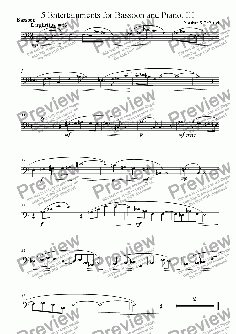 page one of the Bassoon part from 5 Entertainments for Bassoon and Piano (No.3)