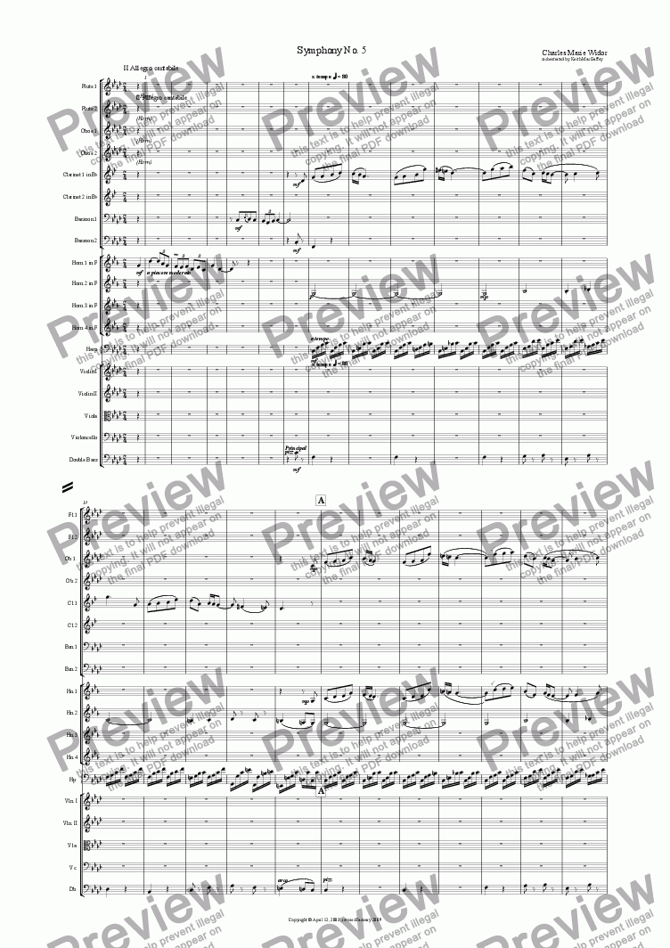 page one of the Oboe 1 part from Widor: Symphony No. 5 for organ II Allegro cantabile