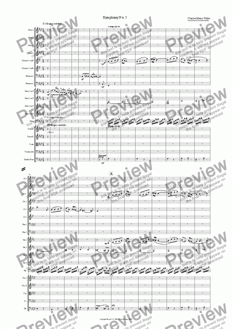 page one of the Violin 1 part from Widor: Symphony No. 5 for organ II Allegro cantabile