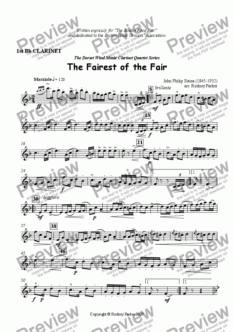 page one of the 1st Clarinet part from The Fairest of the Fair arr. for Clarinet Quartet