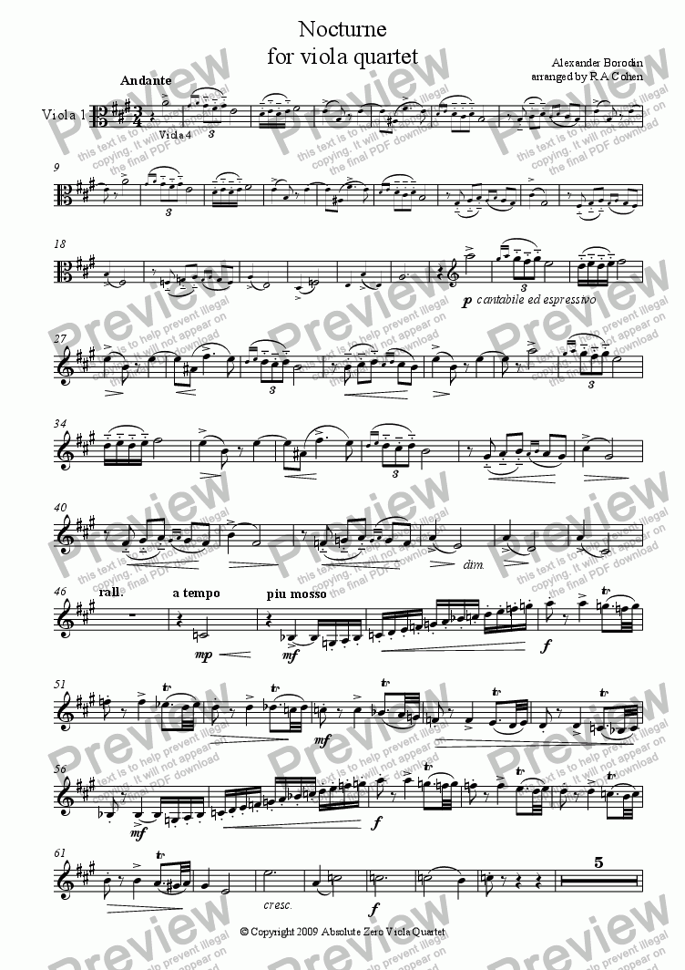 page one of the Viola 1 part from Borodin - NOCTURN - for viola quartet