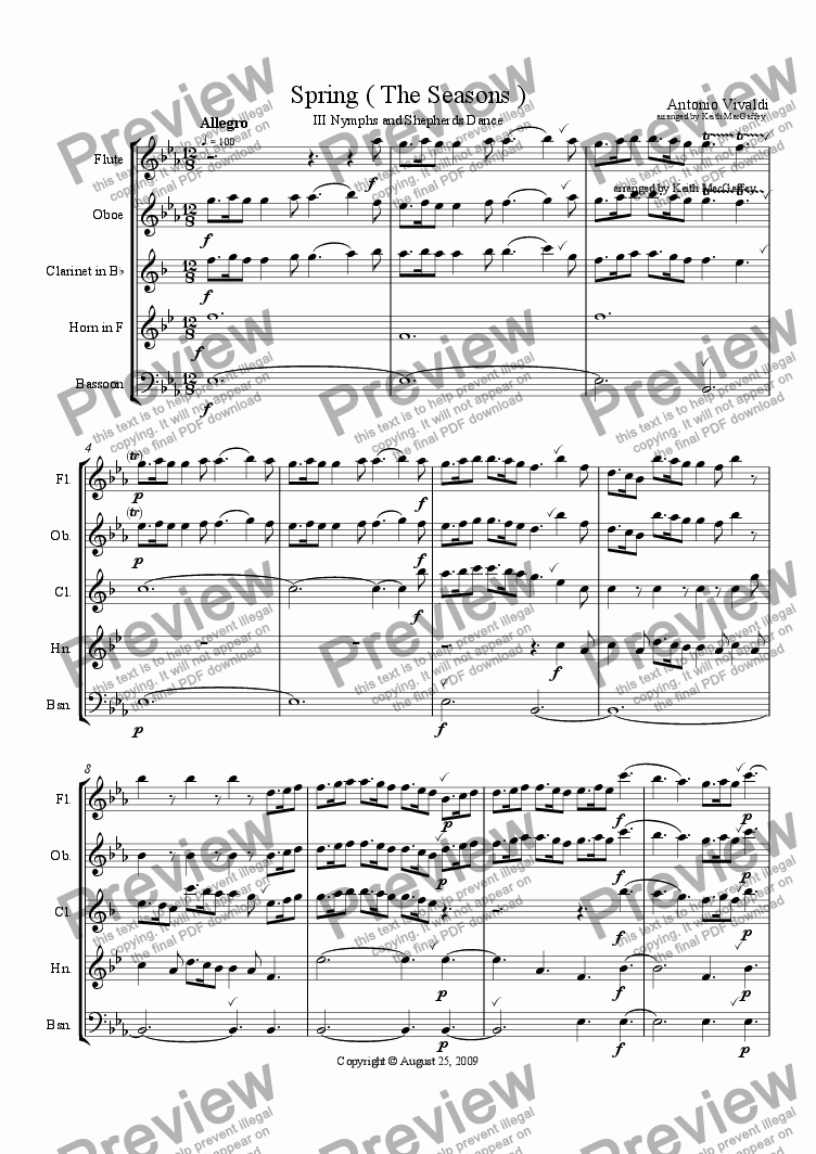 page one of the Horn in F part from Vivaldi Spring III Nymphs and Shepherds Dance arr. wind quintet