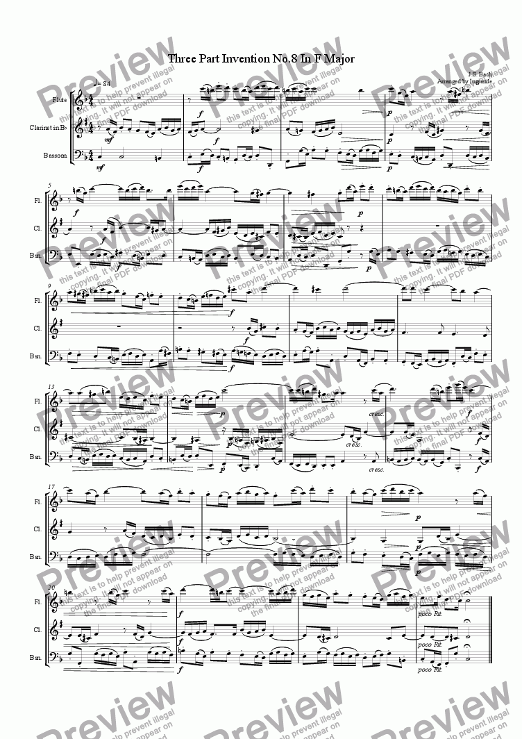 page one of the Clarinet part from Invention No. 8