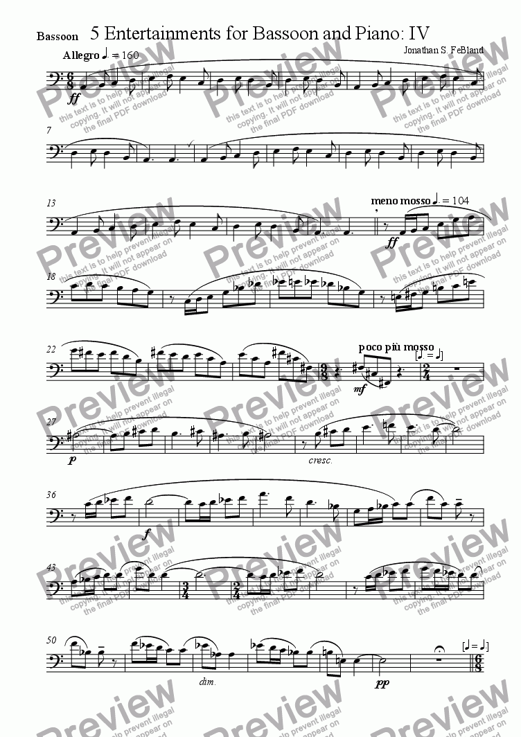 page one of the Bassoon part from 5 Entertainments for Bassoon and Piano (No.4)