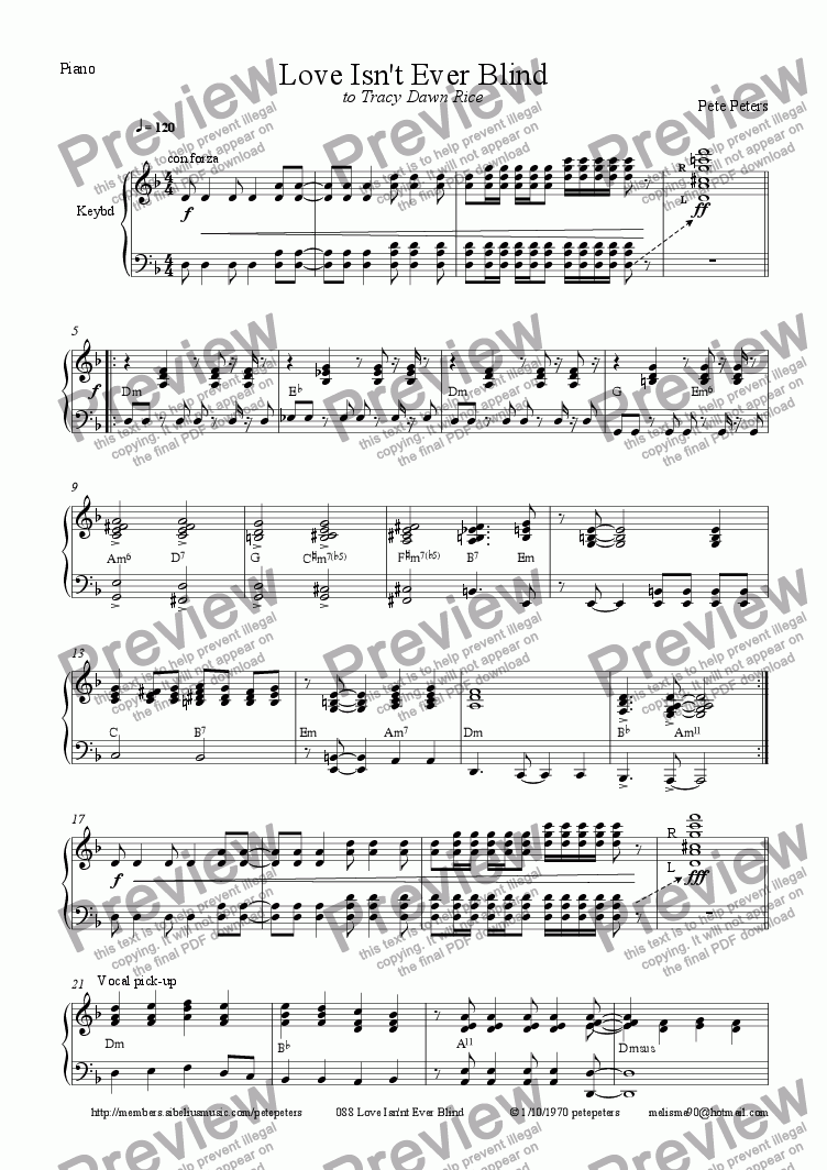 page one of the Piano part from Love Isn.t Ever Blind [Vocal 6tet]