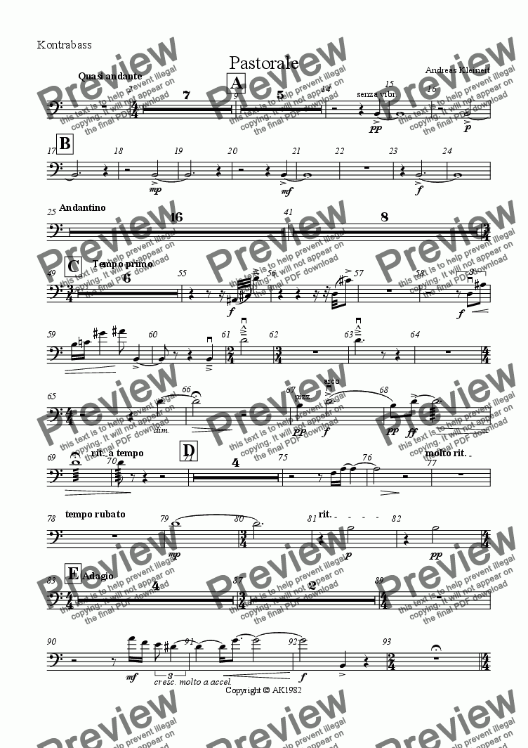 page one of the contrabass part from Pastorale