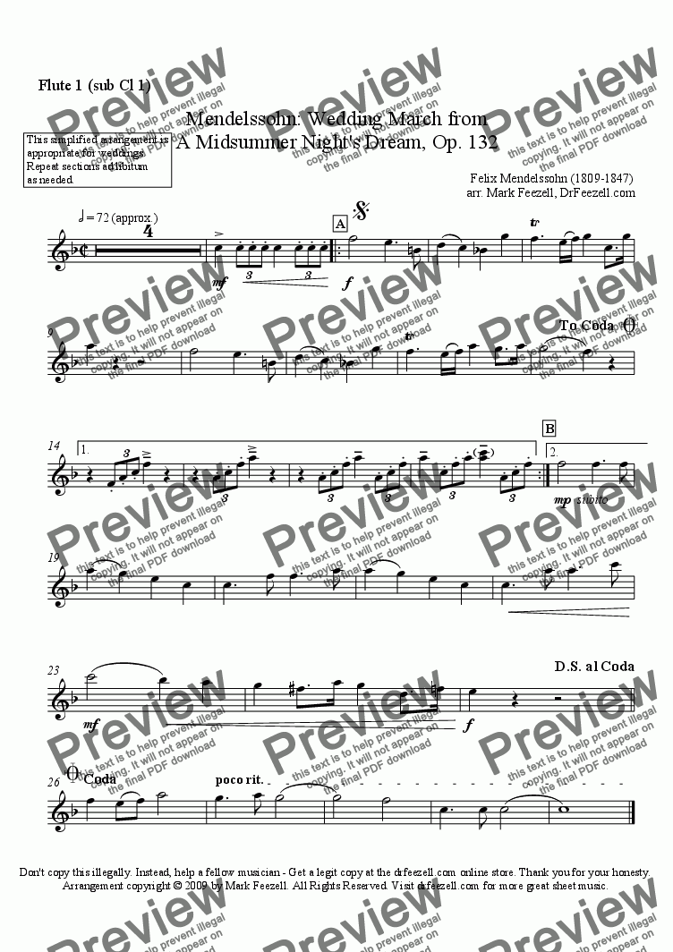 page one of the flute 1 (sub clarinet 1) part from Wedding March for woodwind quartet or woodwind quintet