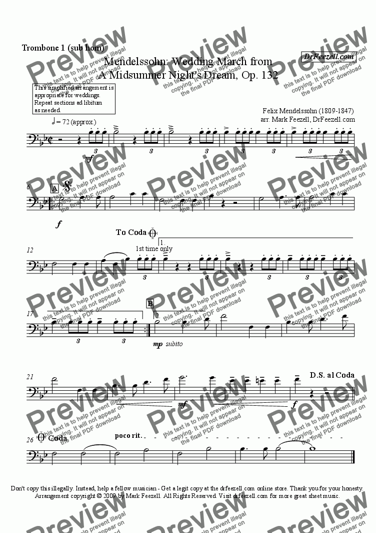 page one of the trombone 1 (sub horn) part from Wedding March for brass quartet or brass quintet
