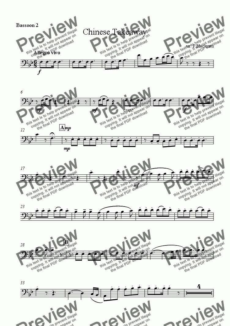 page one of the bassoon2 part from Chopsticks variations for bassoons