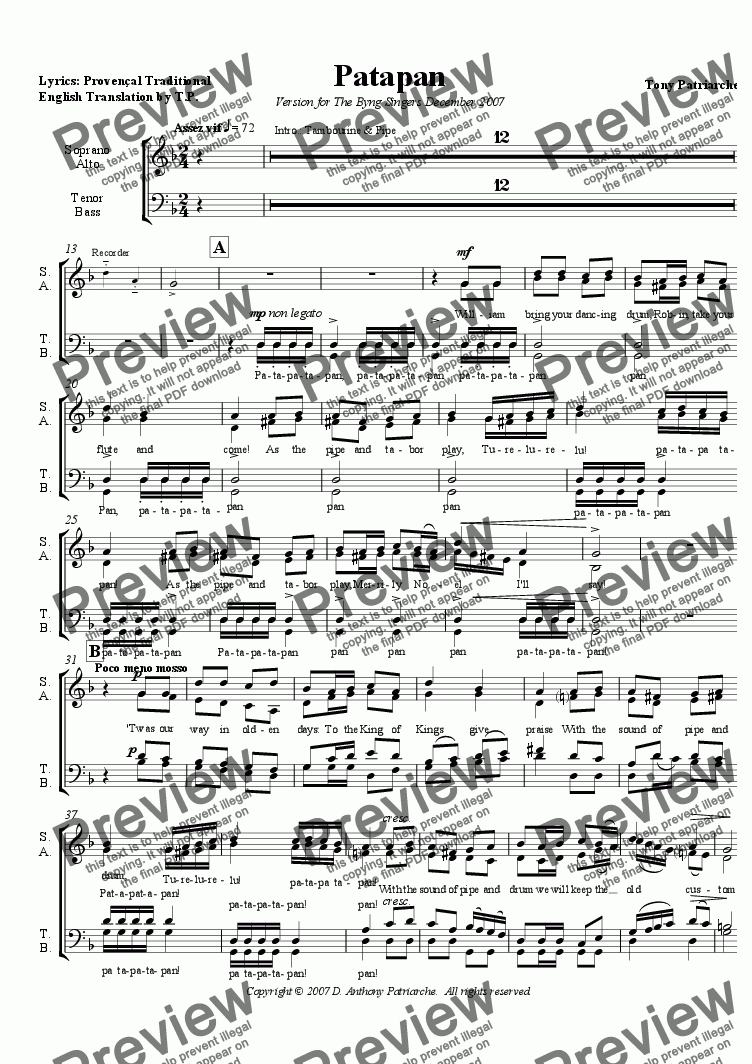 page one of the Choir only part from Patapan - Simpler, English version