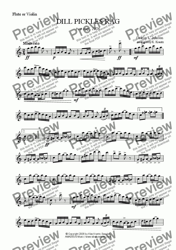 page one of the flute (violin) part from Dill Pickles Rag for flute (violin) and guitar