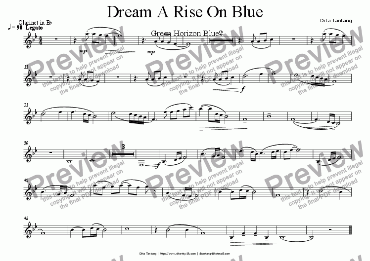 page one of the clarinet in Bb part from Dream A Rise On Blue (Green Horizon Blue)