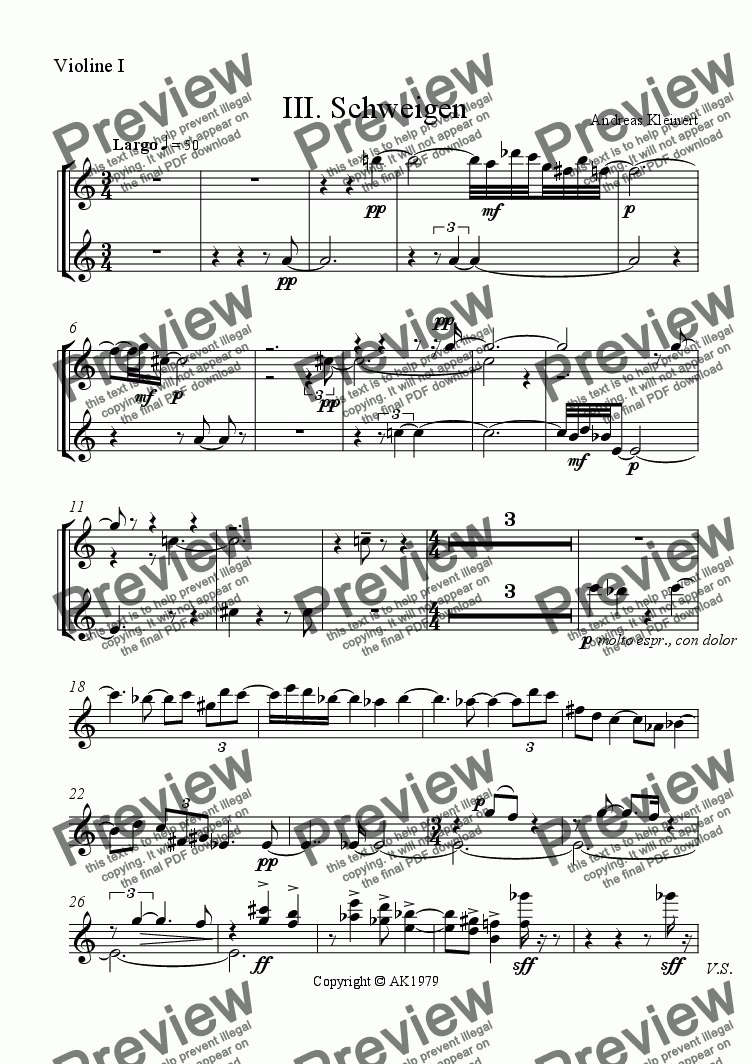 page one of the violin I part from Silence III