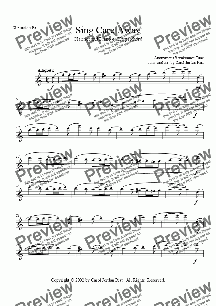 page one of the Clarinet in Bb part from Sing Care Away (clarinet & piano or harpsichord)