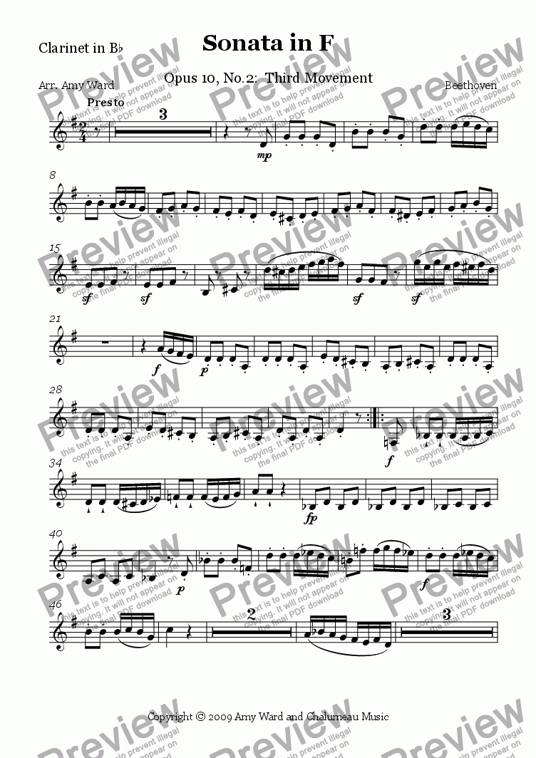 page one of the Clarinet part from Sonata in F, Op.10, No.2: Presto