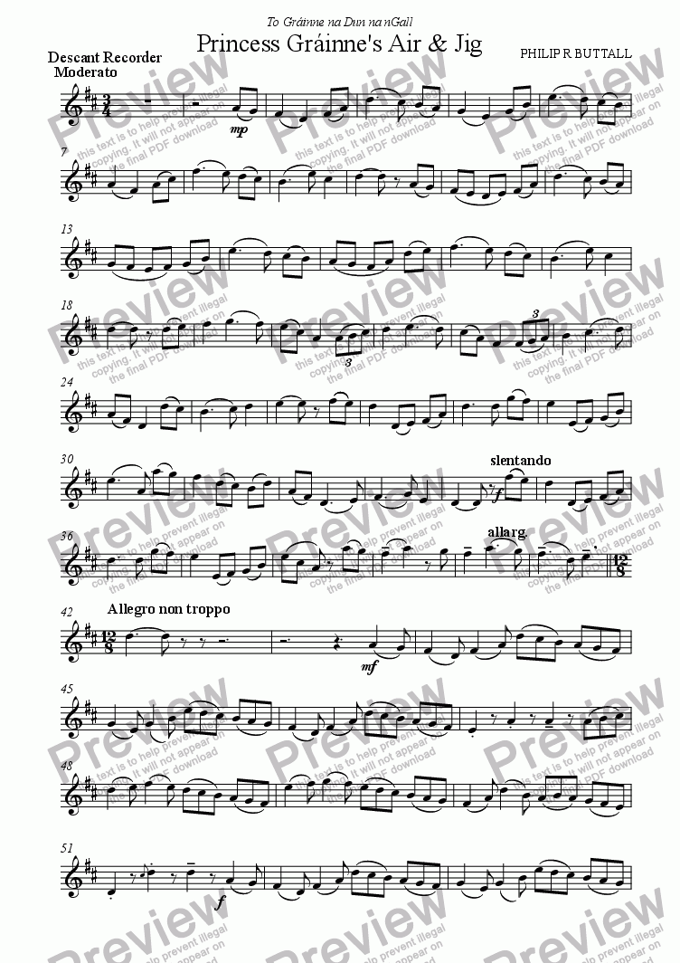 page one of the Descant Recorder part from Princess Grainne's Air & Jig