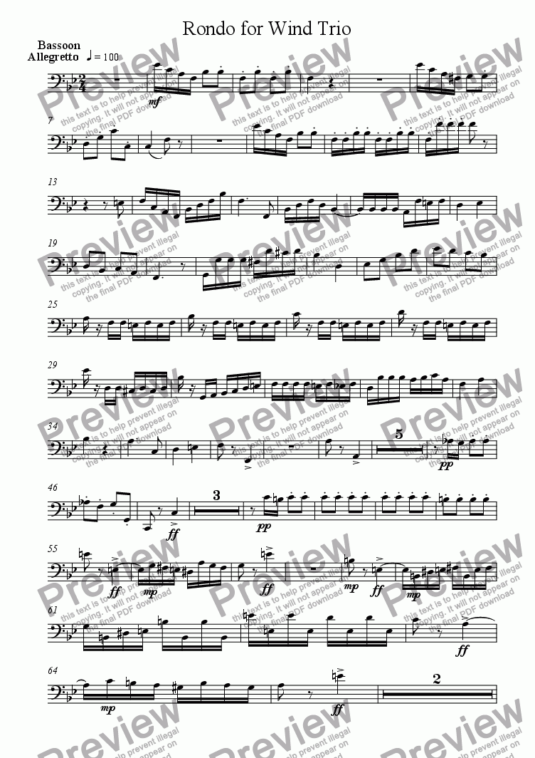 page one of the Bassoon part from Rondo for Wind Trio