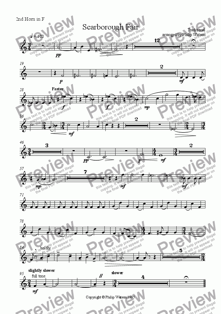 page one of the 2nd Horn in F part from Scarborough Fair