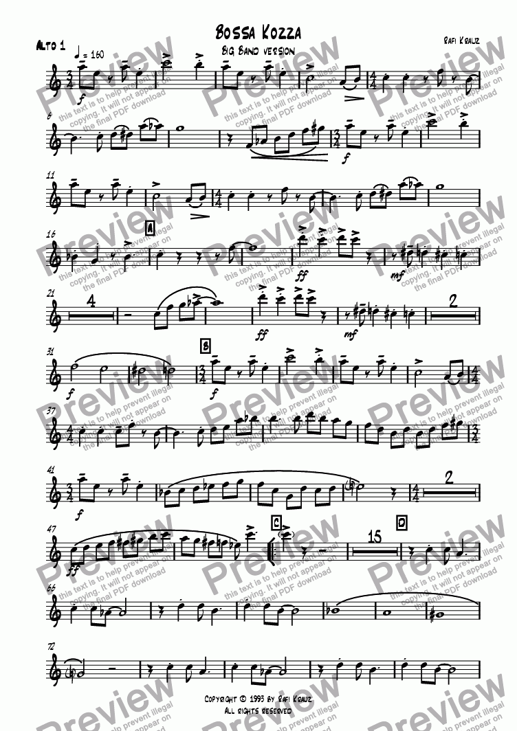 page one of the 1st Alt part from Bossa Kozza - big band version