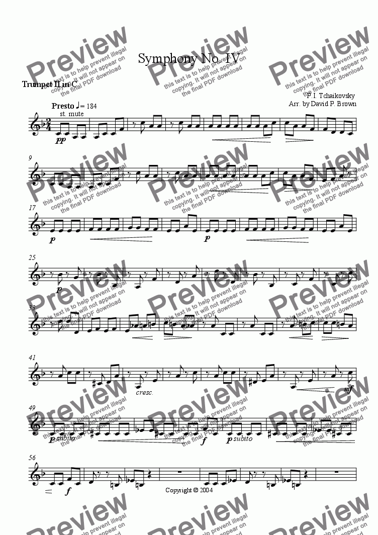 page one of the Trumpet II in C part from 3rd Movement Symphony No. 4 (pizzicato)