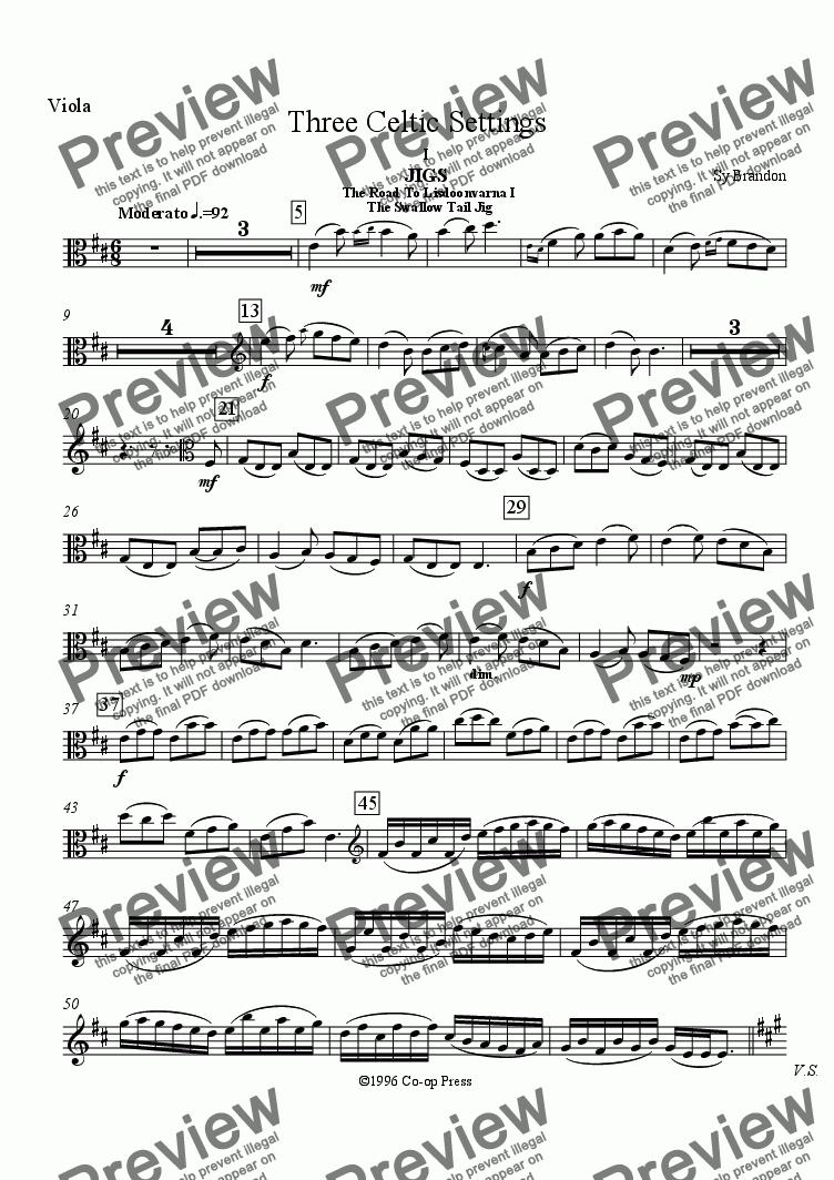 page one of the Viola part from Three Celtic Settings for Viola, Oboe and Trombone