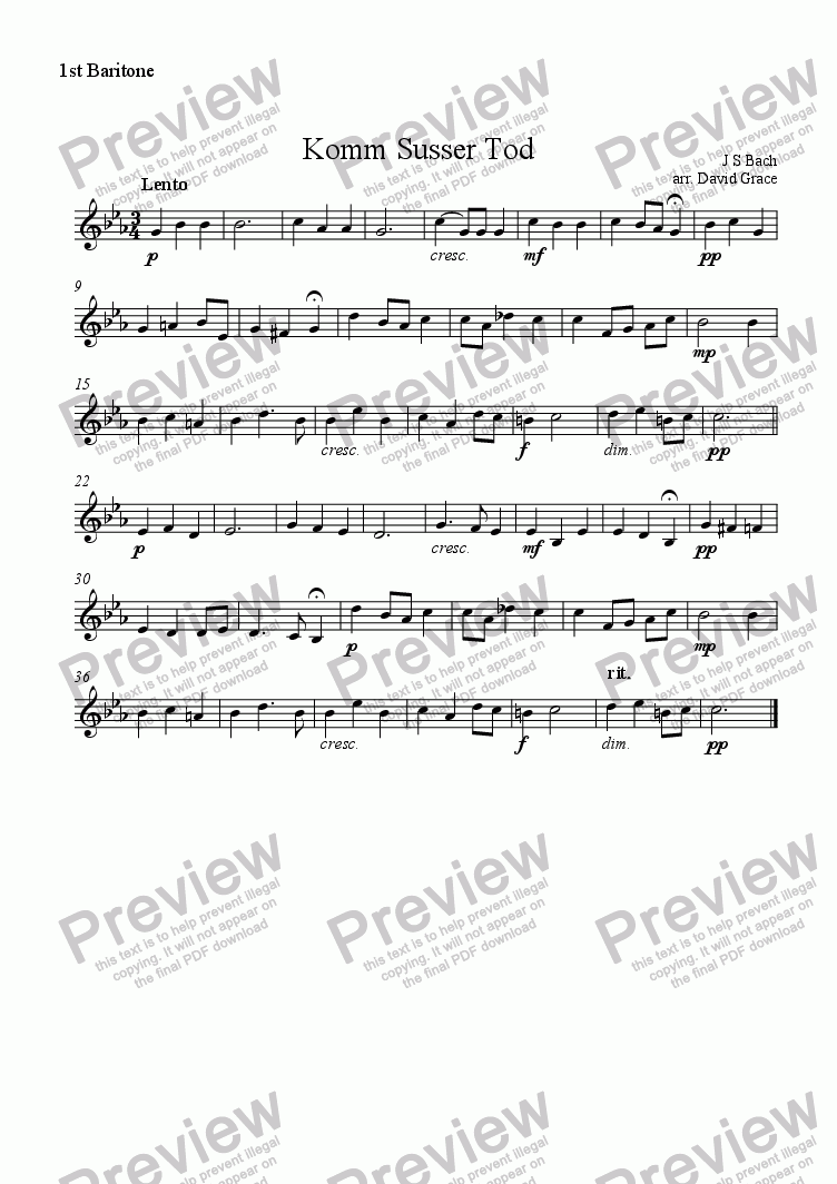 page one of the Baritone part from Komm Susser Tod [Bach]