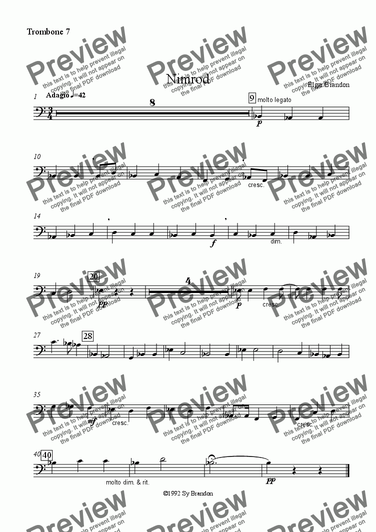 page one of the Trombone 7 part from Nimrod from Enigma Variations for 8 Trombones