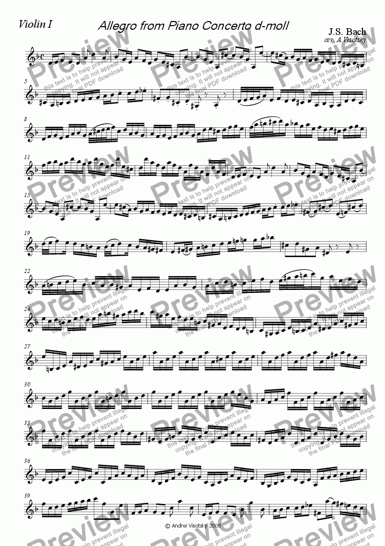 page one of the violin I part from Allegro from Piano Concerto d-moll