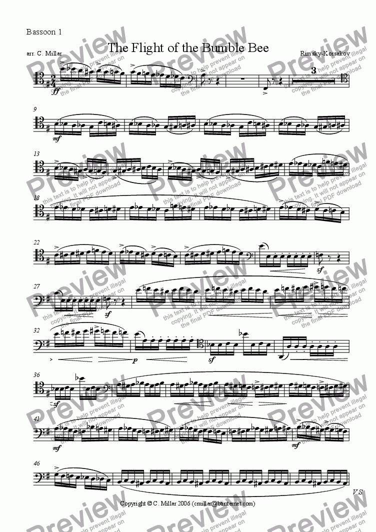 page one of the Bassoon 1 part from Flight of the Bumble Bee