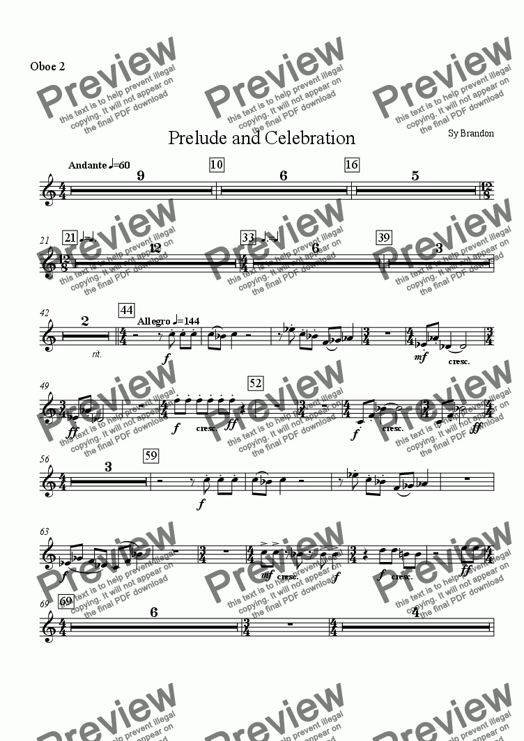 page one of the Oboe 2 part from Prelude and Celebration for Chamber Orchestra