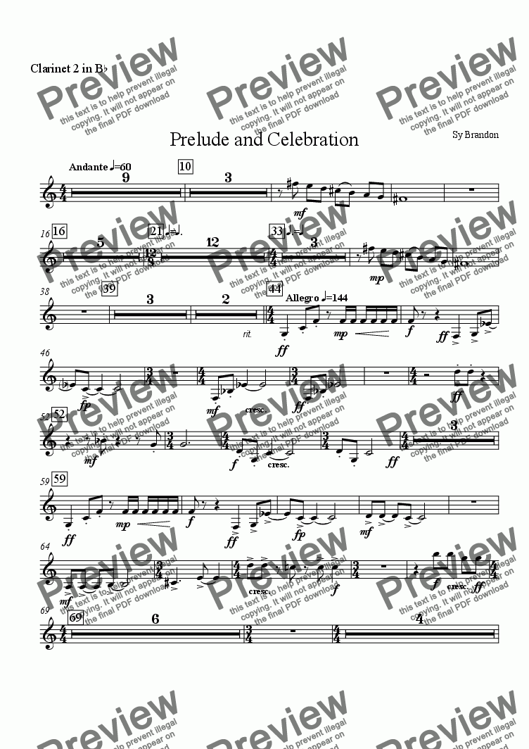page one of the Clarinet 2 in Bb part from Prelude and Celebration for Chamber Orchestra