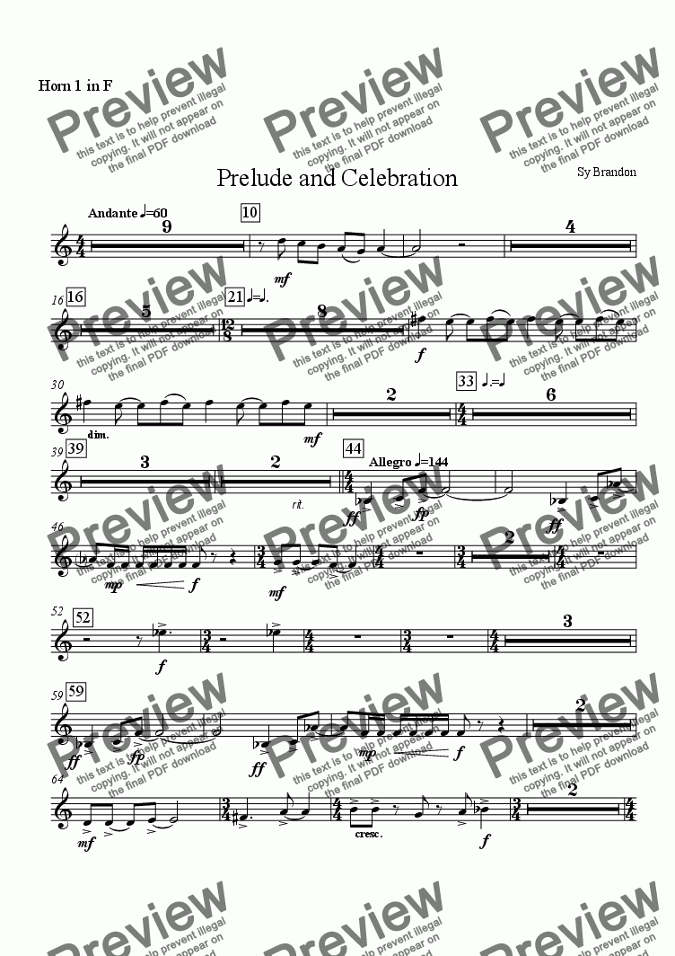 page one of the Horn 1 in F part from Prelude and Celebration for Chamber Orchestra