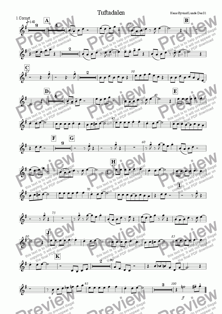 page one of the Cornet 1 part from Tuftadalen