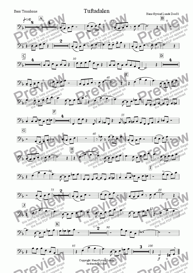 page one of the Bass trombone part from Tuftadalen