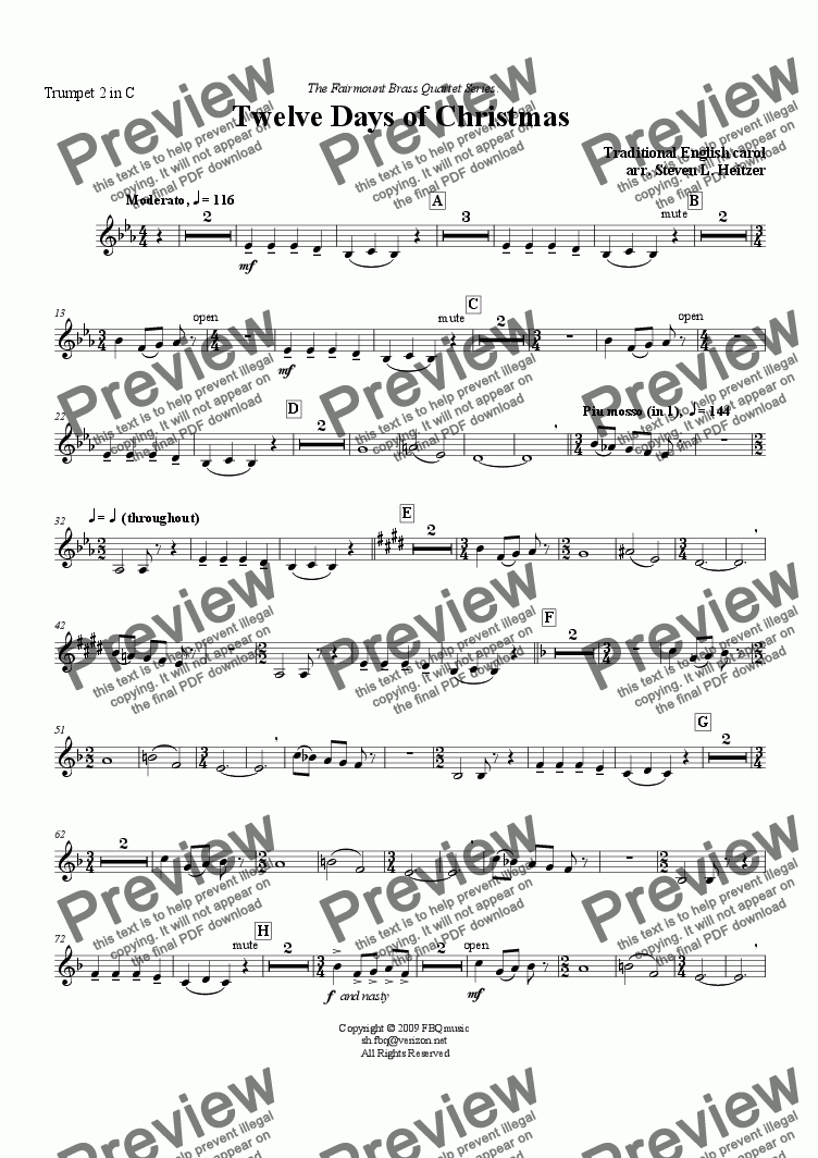 page one of the Trumpet 2 in C part from The Twelve Days of Christmas - Brass QUARTET